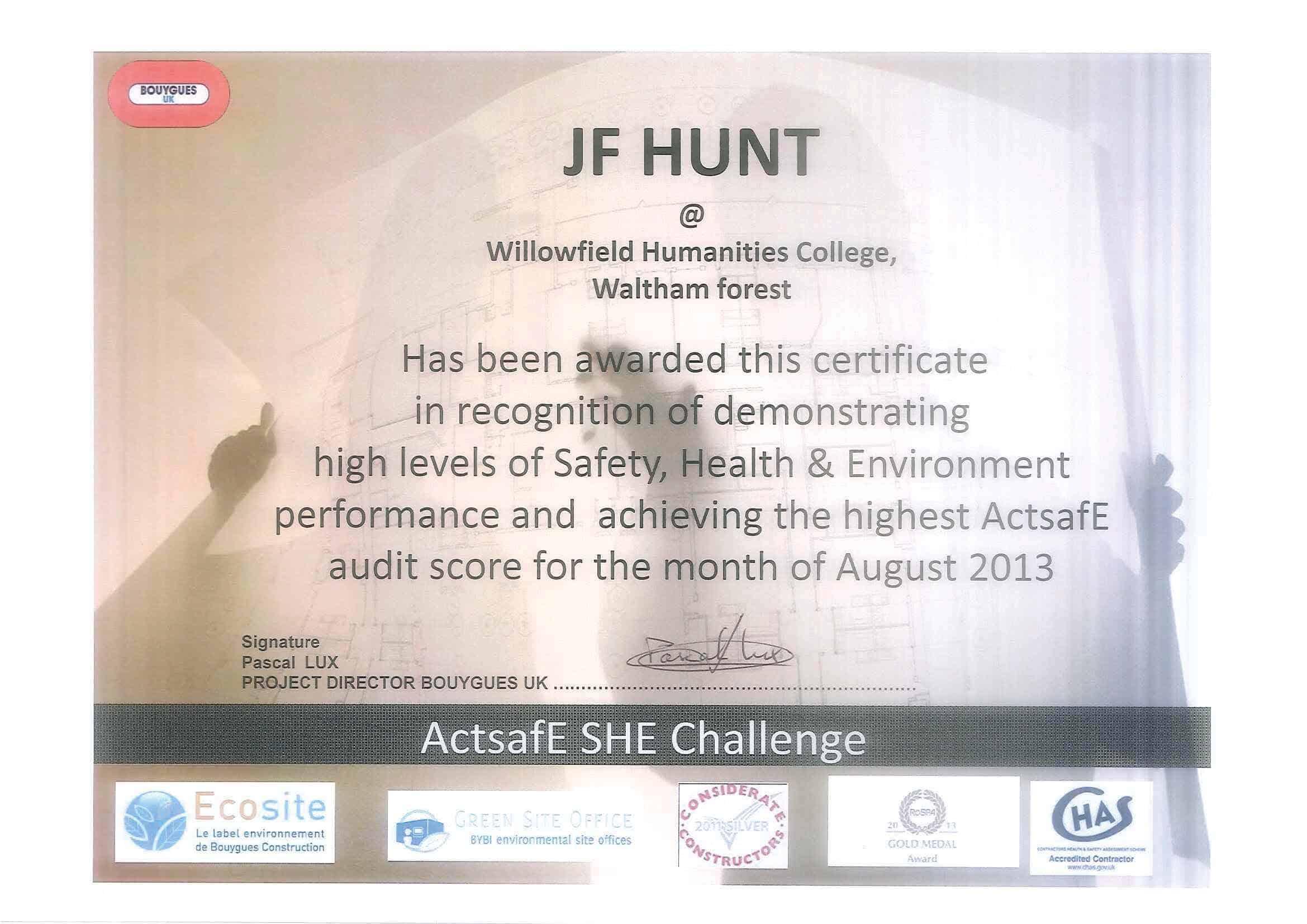 John F Hunt WHC Award